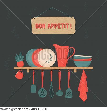 Set Of Kitchen Accessory On Shelves And Bon Appetit Sign On Dark Background. Vector Kitchen Tools. K