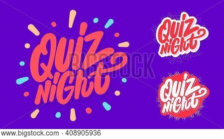 Quiz Night. Vector Handwritten Lettering Banners Set. Vector Illustration.
