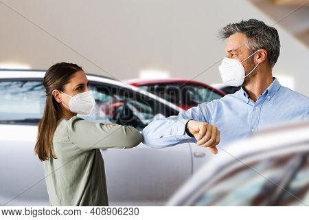 Buyer In Car Dealership Wearing Face Mask