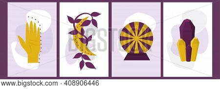 A Set Of Celestial Posters With A Female Hand And Symbols. Esotericism And Palmistry, The Symbol Of
