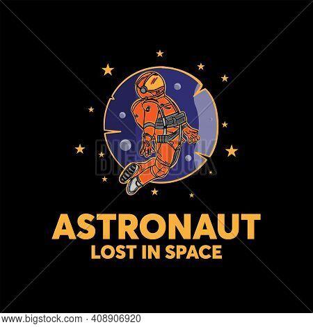 Astronaut Design Logo Vector. Illustration Astronaut In Space.