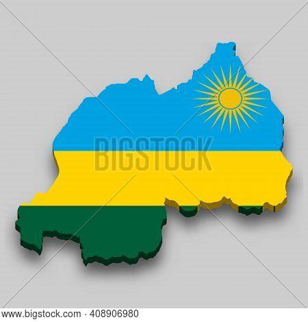 3d Isometric Map Of Rwanda With National Flag. Vector Illustration.