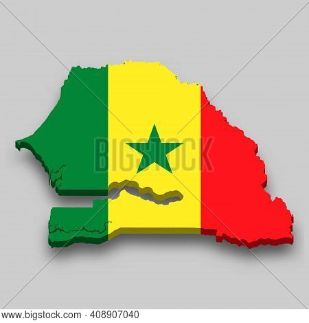 3d Isometric Map Of Senegal With National Flag. Vector Illustration.