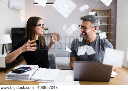 Family With Money Issue And Debt. Sad Couple Fighting