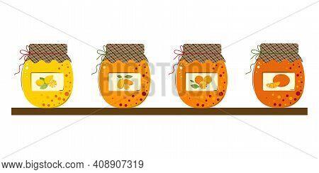 Set Of Jars Of Citrus Fruits Jam. Juicy Mandarins, Kumquat, Lemon, Oranges Homemade Handmade Jam.