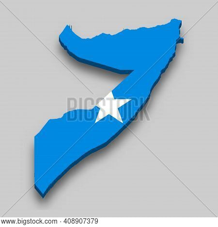 3d Isometric Map Of Somalia With National Flag. Vector Illustration.