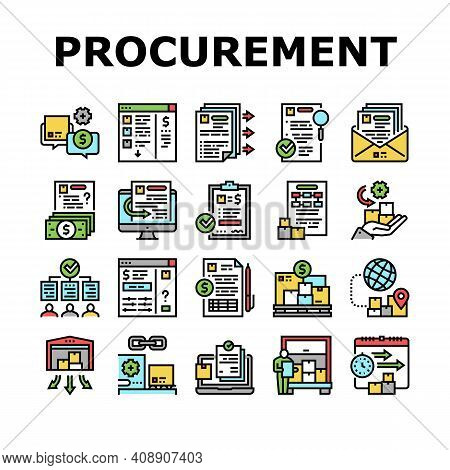 Procurement Process Collection Icons Set Vector. Procurement Warehouse And Contract, Purchase Requis