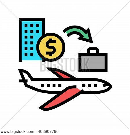 Transport And Business Trip Benefits Color Icon Vector. Transport And Business Trip Benefits Sign. I