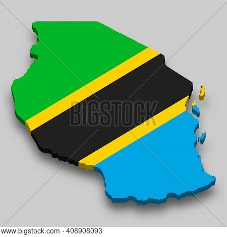 3d Isometric Map Of Tanzania With National Flag. Vector Illustration.