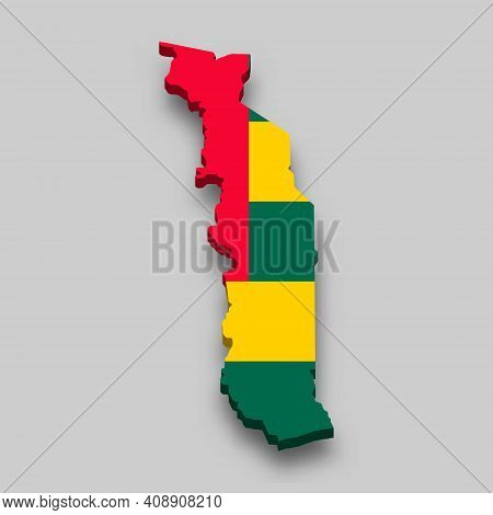 3d Isometric Map Of Togo With National Flag. Vector Illustration.