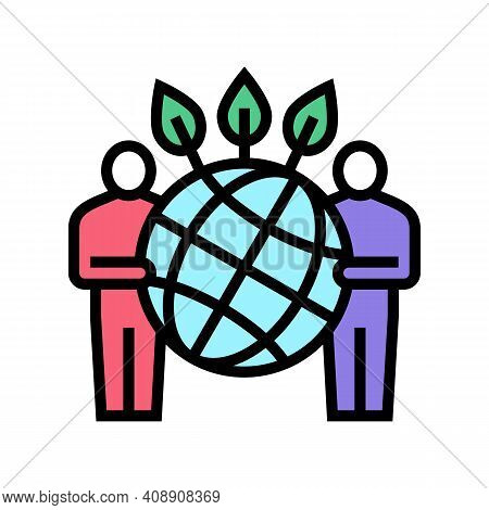 People Safe Planet Ecosystem Color Icon Vector. People Safe Planet Ecosystem Sign. Isolated Symbol I