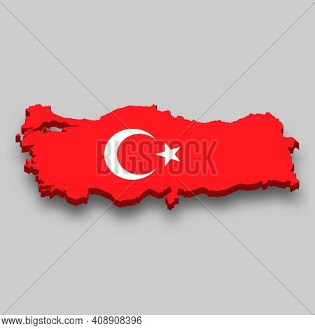 3d Isometric Map Of Turkey With National Flag. Vector Illustration.