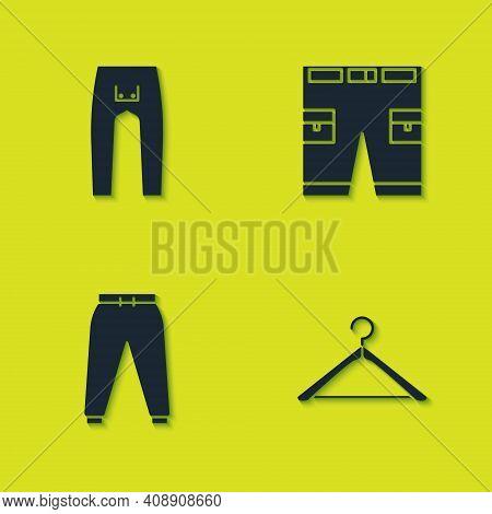 Set Pants, Hanger Wardrobe, Sport Pants And Short Icon. Vector