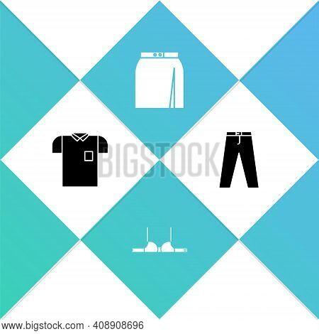 Set Polo Shirt, Bra, Skirt And Pants Icon. Vector
