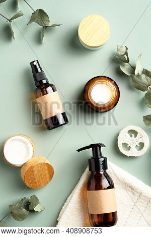 Natural Organic Spa Cosmetics Products Set With Green Eucalyptus Leaves. Top View Herbal Skincare Be