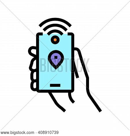 Smartphone With Rfid Nfc Technology Color Icon Vector. Smartphone With Rfid Nfc Technology Sign. Iso