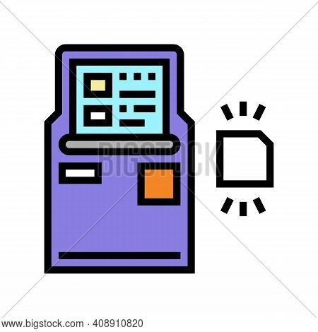 Atm With Rfid Technology Color Icon Vector. Atm With Rfid Technology Sign. Isolated Symbol Illustrat
