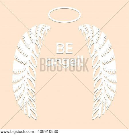 Angel Wings And Halo In White Color Isolated On Beige Background Paper Cut Decorative Silhouette Tra
