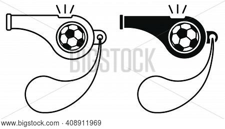 Sports Whistle Of Referee Of Football Match. Icon. Minimalistic Vector