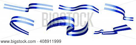 Set Of Holiday Ribbons. Flag Of Republic Of Honduras Waving In Wind. Separation Into Lower And Upper