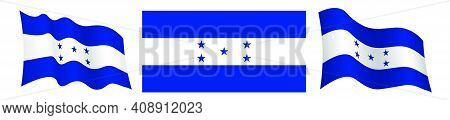 Flag Of Republic Of Honduras In Static Position And In Motion, Fluttering In Wind In Exact Colors An