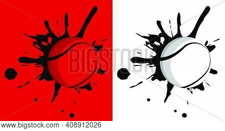 Ball For Tennis Hit The Wall With Splashes. Sport Equipment. Active Lifestyle. Vector