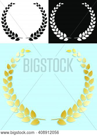Laurel Wreath. Award Of Winner Of Competition With Olive Branch. Easy To Edit Color. Shadow For Any