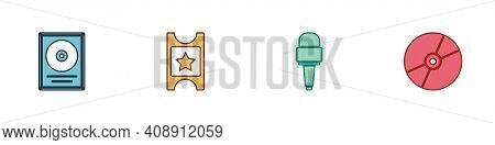 Set Cd Disk Award In Frame, Cinema Ticket, Microphone And Or Dvd Icon. Vector
