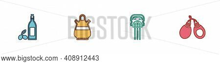 Set Bottle Of Olive Oil, Sangria Pitcher, Peineta And Castanets Icon. Vector