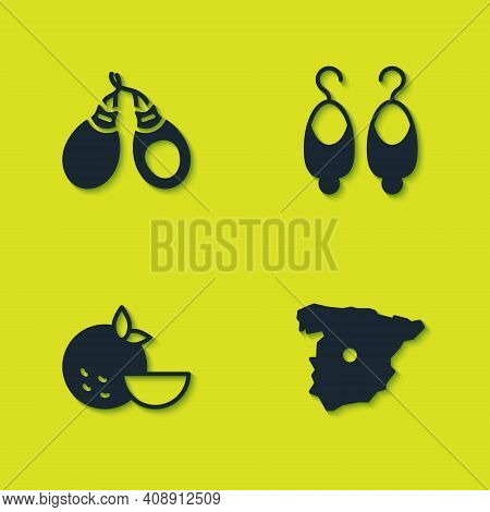 Set Castanets, Map Of Spain, Orange Fruit And Earrings Icon. Vector
