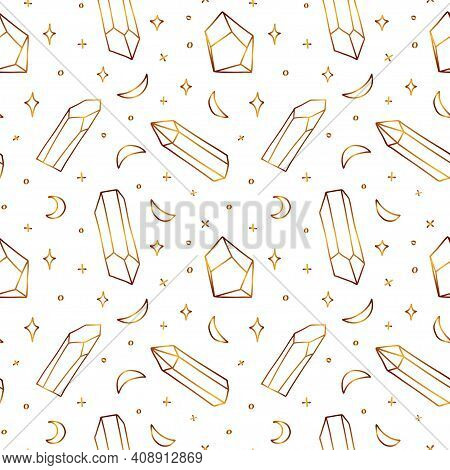 Seamless Golden Pattern With Crystals. Airy Gold Pattern With Semiprecious Stones And Crescents. Vec