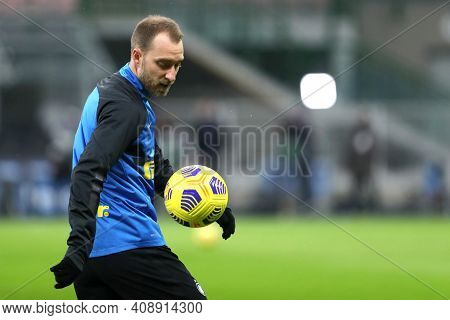 Milano, Italy. 14th February 2021 . Christian Eriksen Of Fc Internazionale   During The Serie A Matc
