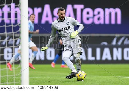 Milano, Italy. 14th February 2021 . Samir Handanovic Of Fc Internazionale   During The Serie A Match