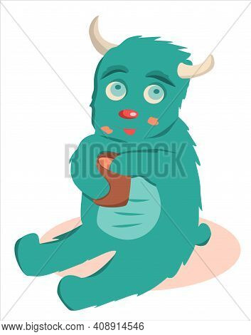 Cute Green Monster With Honey. Flat Illustration For Baby Posters, Clothes