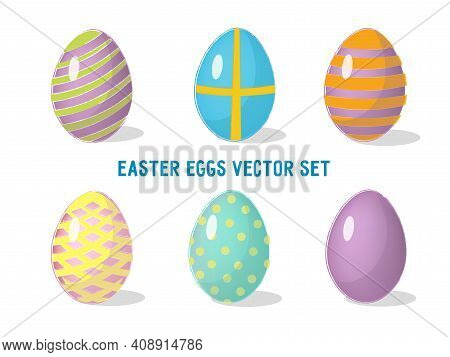 Set With Decorated Easter Eggs Isolated On White Background. Vector Illustration.
