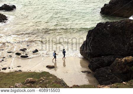 Lizard (england), Uk - August 16, 2015: Lizard Peninsula Area And Beaches, Cornwall, England, United
