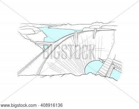 Glen Canyon Dam Stunning Panoramic View. Black And White Linear Hand Drawing With Light Blue Water.