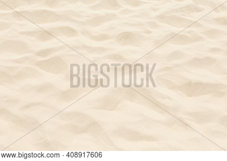 Brown Sand Pattern And Texture. Summer Background. Empty Tropical Beach With Copy Space.