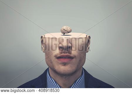 Man With Half Of Head And A Small Brain . Self Development And Open Mind Concept . This Is A 3d Rend