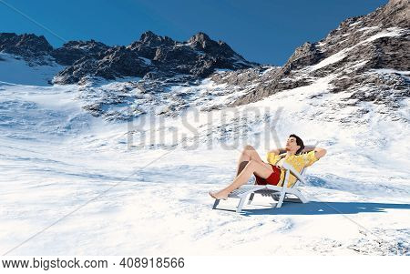 Man In Summer Clothes On Snowy Mountains . Season  Change Concept . This Is A 3d Render Illustration