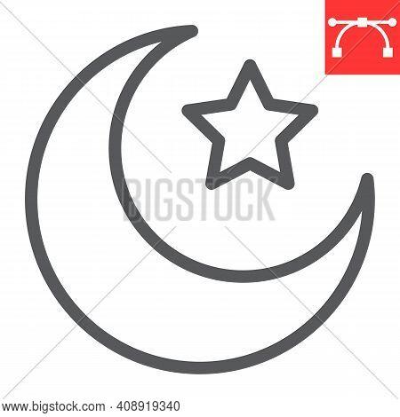 Star And Crescent Line Icon, Happy Ramadan And Muslim, Islamic Crescent Vector Icon, Vector Graphics