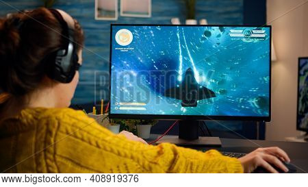 Gamer Trying To Relax Playing Space Shooter Online Videogame On Powerful Pc Spending Loisure Time At