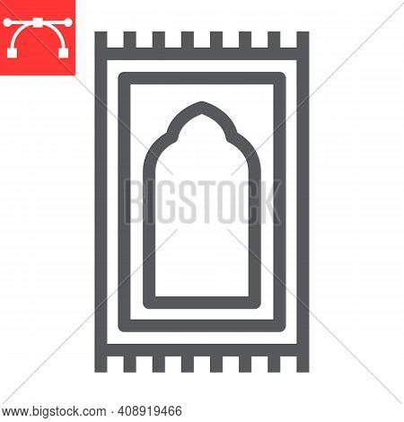 Prayer Rug Line Icon, Happy Ramadan And Religion, Prayer Carpet Vector Icon, Vector Graphics, Editab