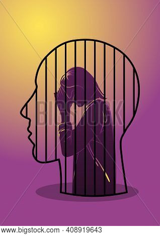 An Illustration Of A Woman Locked In A Head Of A Man