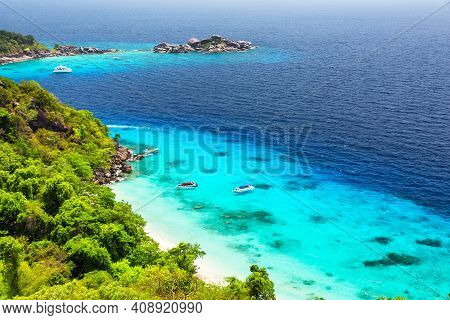 View Point Of Similan Islands, Beautiful White Sand Beach And Turquoise Water Of Andaman Sea, Phangn