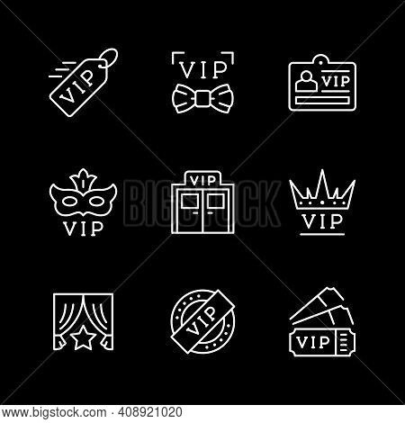 Set Line Icons Of Vip Isolated On Black. Very Important Person, Privilege Entrance, Tickets, Anonymo