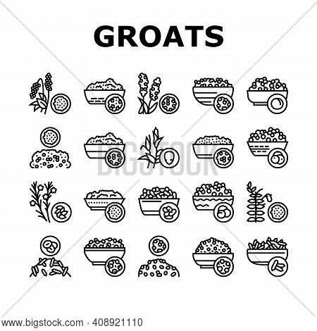 Groats Natural Food Collection Icons Set Vector. Amaranth And Artek, Rice And Corn, Beans And Cousco