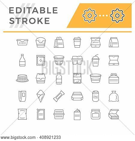 Set Line Icons Of Food Packaging Isolated On White. Alcohol Bottle, Lunch Box, Take Away Coffee, Bev