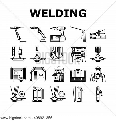 Welding Machine Tool Collection Icons Set Vector. Welding Equipment And Electrodes, Manual Arc And P