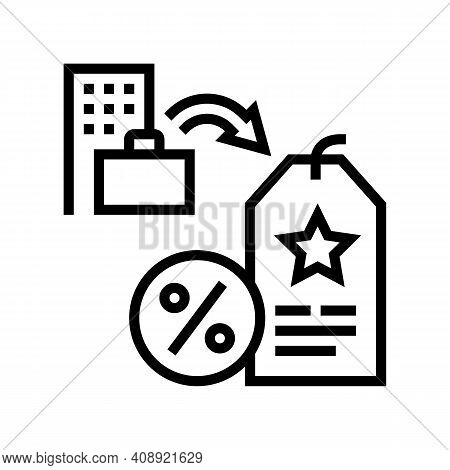 Staff Discount Benefits Line Icon Vector. Staff Discount Benefits Sign. Isolated Contour Symbol Blac